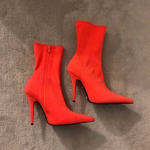Jeffrey Campbell Vedette Orange Pointy Boots
